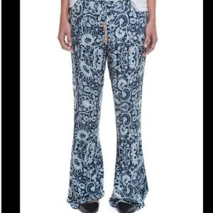Chaser Pants - CHA SOR Tribal Print Blue Bellbottoms